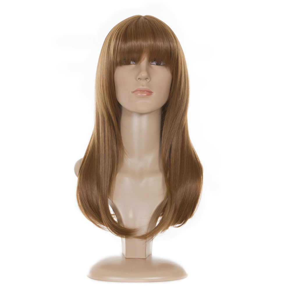 Long hair with blunt bangs